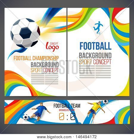 Concept of soccer player with colored geometric shapes assembled in figure football  Background of different color bands intertwined. champion football game. Broadcast Time Matches. Isolate vector.