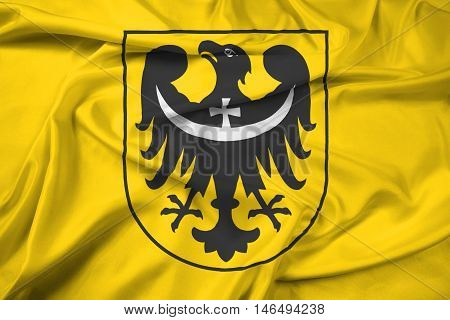 Waving Flag Of Lower Silesian Voivodeship With Coat Of Arms, Poland