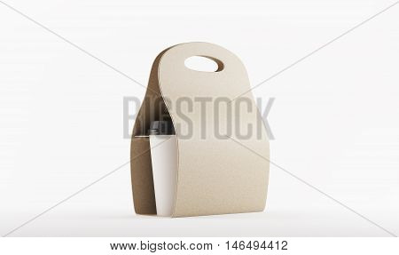 Brown Carton Bag With Coffee Against White Background