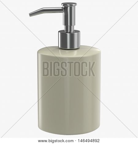 Ceramic soap dispenser isolated on white background 3D Illustration