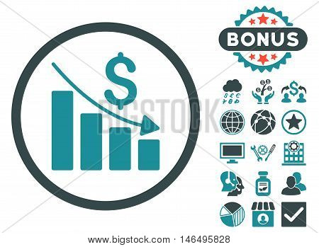 Recession Chart icon with bonus. Vector illustration style is flat iconic bicolor symbols, soft blue colors, white background.