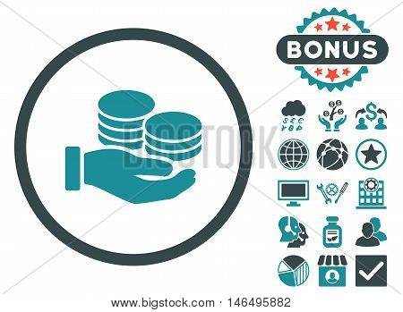 Salary Coins icon with bonus. Vector illustration style is flat iconic bicolor symbols, soft blue colors, white background.