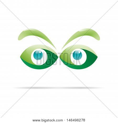 Vector sign green eyes curious glance illustration