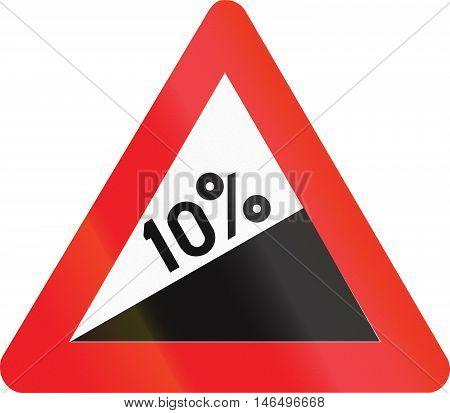 Belgian Warning Road Sign - - Steep Hill Upward
