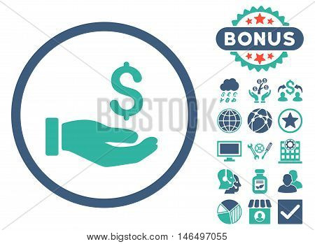 Earnings Hand icon with bonus. Vector illustration style is flat iconic bicolor symbols, cobalt and cyan colors, white background.