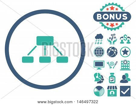 Hierarchy icon with bonus. Vector illustration style is flat iconic bicolor symbols, cobalt and cyan colors, white background.