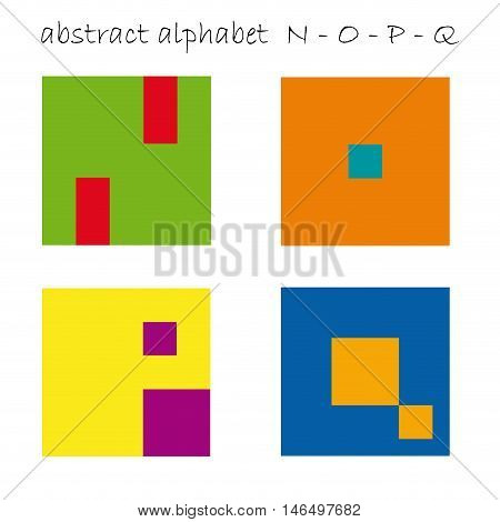 Vector color logo initial letter N, O, P, Q