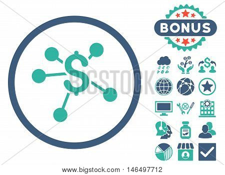Money Emission icon with bonus. Vector illustration style is flat iconic bicolor symbols, cobalt and cyan colors, white background.