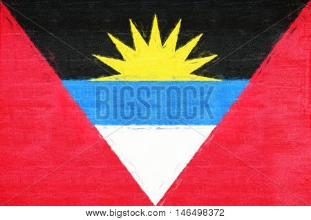 Illustration of the flag of Antigua and Barbuda with a grunge texture