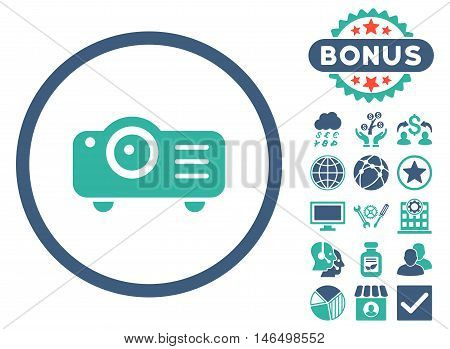 Projector icon with bonus. Vector illustration style is flat iconic bicolor symbols, cobalt and cyan colors, white background.