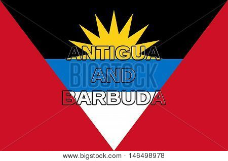 Illustration of the flag of Antigua and Barbuda with the country written on the flag