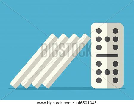 Domino effect stopped with steady tile on blue background. Crisis individuality and power concept. Flat design. Vector illustration. EPS 8 no transparency