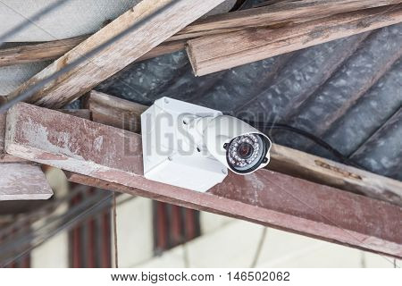 CCTV system security camera inside roof home.