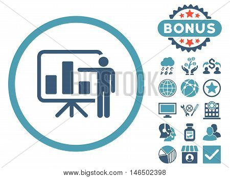 Bar Chart Presentation icon with bonus. Vector illustration style is flat iconic bicolor symbols, cyan and blue colors, white background.