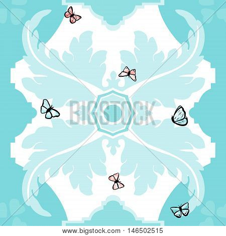 A seamless vector pattern in traditional Spanish style, with stylized decorative shapes in white on a teal blue background, with watercolor butterflies