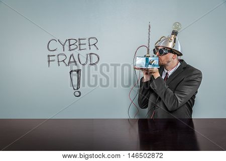 Cyber fraud text with vintage businessman kissing machine
