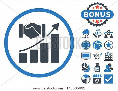 Acquisition Growth icon with bonus. Vector illustration style is flat iconic bicolor symbols, smooth blue colors, white background.