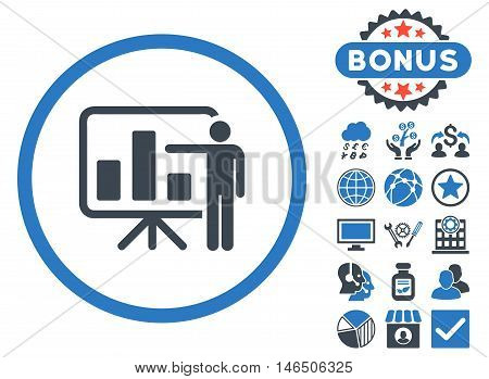 Bar Chart Presentation icon with bonus. Vector illustration style is flat iconic bicolor symbols, smooth blue colors, white background.
