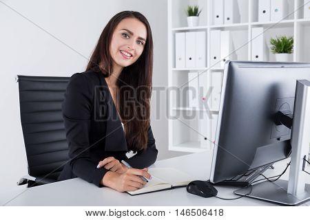 Good Secretary With Long Dark Hair