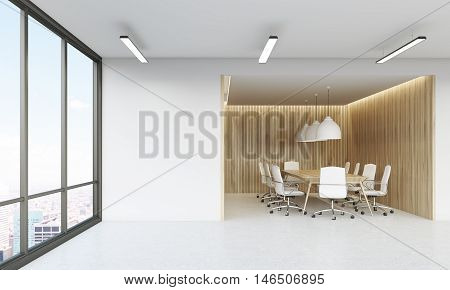 Panoramic window in office lobby with conference room in background. Concept of negotiations. 3d rendering. Mock up.