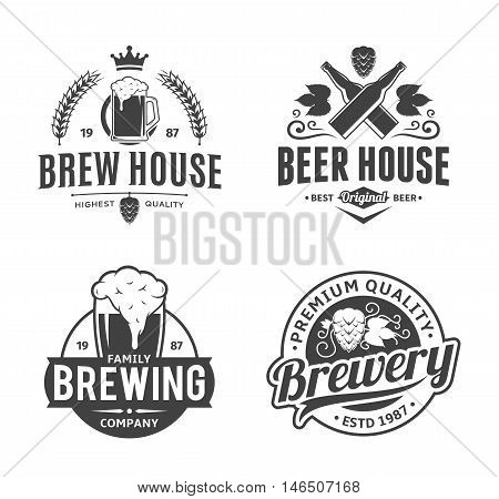 Set of vector black and white vintage beer logo icons and design elements isolated on white background for beer house bar pub brewing company branding and identity.