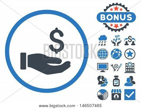 Earnings Hand icon with bonus. Vector illustration style is flat iconic bicolor symbols, smooth blue colors, white background.