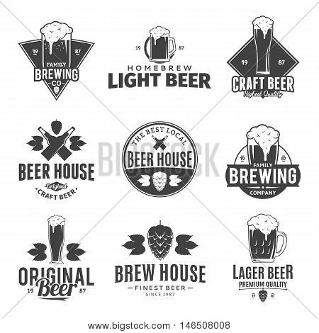 Set of vector black and white beer logo icons and design elements for beer house bar pub brewing company branding and identity.