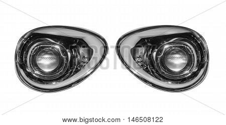 Car lights isolated on white background. Right and left.