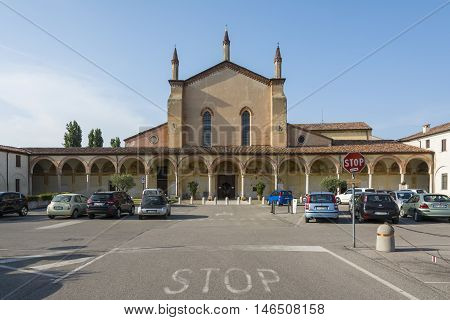GRAZIA,ITALY-JULY 4,2015:View of the parking in front of sanctuary of the Blessed Virgin of Graces in the small village of Grazie near the river Mincio.
