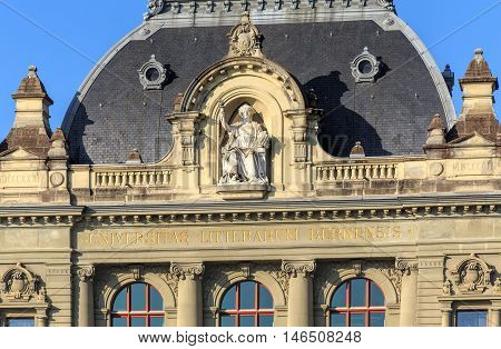 Bern, Switzerland - 29 December, 2015: upper part of the University of Bern building. The University of Bern is a university in the city of Bern, founded in 1834, regulated and financed by the Swiss Canton of Bern.