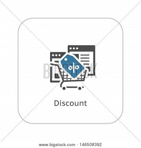 Discount Icon. Flat Design. Isolated Illustration. App Symbol or UI element. Web Pages with Popup Offer.
