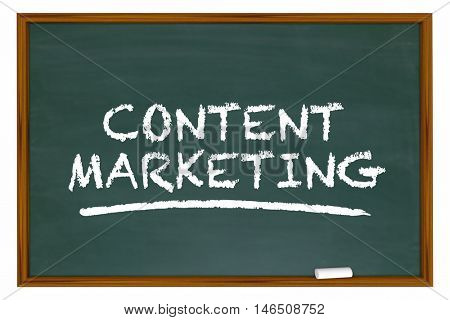 Content Marketing Chalk Board Words Learning 3d Illustration