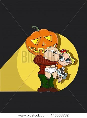 Halloween Pumpkin Man Jack-o'-lantern hugs cute afraid children with plush panda. Dark night with flashlight -hand drawn stock vector