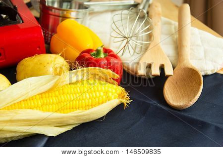 Food Ingredients With Kitchen Utensils For Cooking