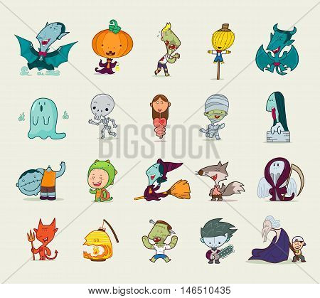 Set of Halloween character, Vector illustration, Cartoon character