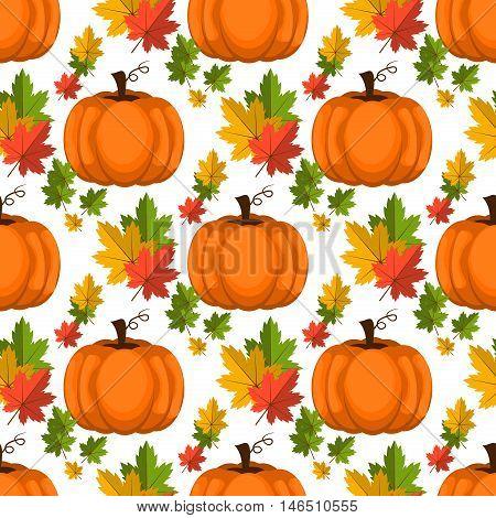 Halloween seamless pattern decoration art thanksgiving plant. Background with pumpkin vector orange october pattern. Autumn holiday season pumpkin pattern harvest thanksgiving plant.