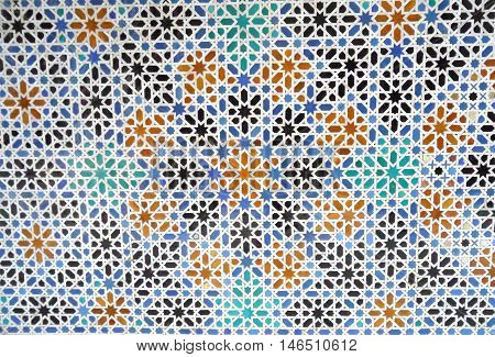 Colorful Moorish Style Tiled Wall in the Real alcazar of Seville in Spain, Background