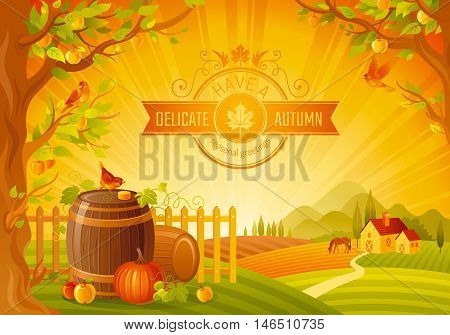 Thanksgiving vector illustration of beautiful autumn landscape on sunset background with modern elegant text lettering, copy space. Countryside fall farm symbol - wine cask, cider apple, pumpkin logo