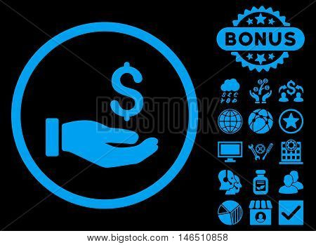 Earnings Hand icon with bonus. Vector illustration style is flat iconic symbols, blue color, black background.