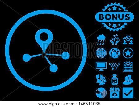Geo Network icon with bonus. Vector illustration style is flat iconic symbols, blue color, black background.