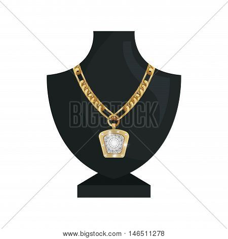 neck mannequin with  jewelry gold necklace and precious stone. vector illustration
