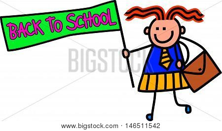 A cute doodle drawing of a happy little girl in school uniform holding a BACK TO SCHOOL sign.
