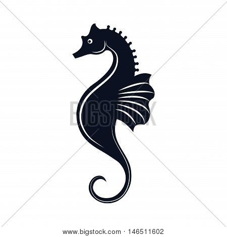 seahorse aquatic animal. ocean symbol. silhouette vector illustration