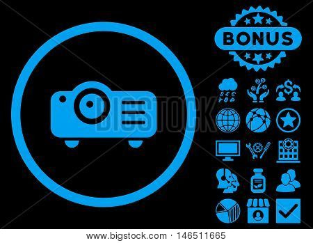 Projector icon with bonus. Vector illustration style is flat iconic symbols, blue color, black background.