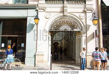 Paris France-September 03 2016 : The Galerie Vivienne is one of the covered passages of Paris in the 2nd arrondissement .It was built in 1823 and attracted many visitors with its tailor shops cobblers wine shops restaurants....