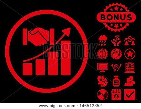 Acquisition Growth icon with bonus. Vector illustration style is flat iconic symbols, red color, black background.