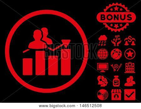 Audience Graph icon with bonus. Vector illustration style is flat iconic symbols, red color, black background.