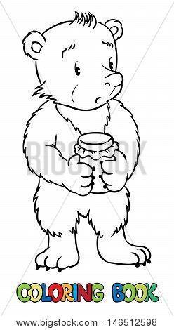 Coloring book or coloring picture of lttle funny bear with jar of honey in his paws. Children vector illustration