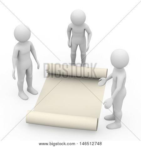Men With Manuscript On White Background, 3D Rendering