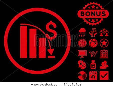 Epic Fail Chart icon with bonus. Vector illustration style is flat iconic symbols, red color, black background.